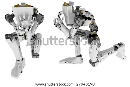 Slim 3d robotic figure, isolated