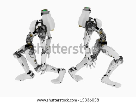 Slim 3d robotic figures, over white, isolated