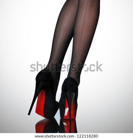 Slim female legs - stock photo