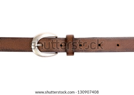 slim leather belt with silver buckle isolated on white - stock photo
