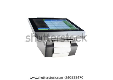 Slim profile touchscreen point of sale terminal  - stock photo