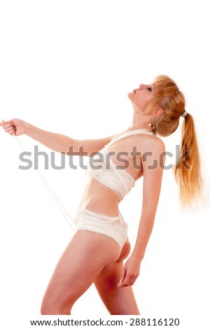 slim sexy girl with bandages - stock photo