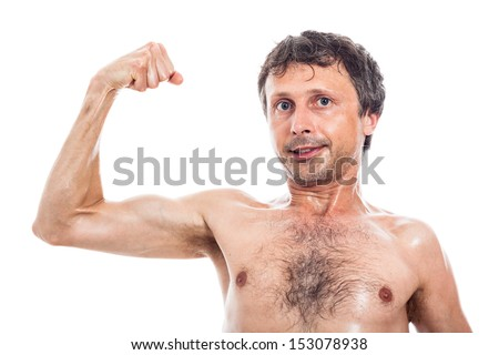 Slim shirtless man showing his biceps, isolated on white background - stock photo