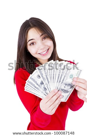 Slim sweet looking girl wishing more money with money in her hands. In red catchy sweater, isolated on white background.
