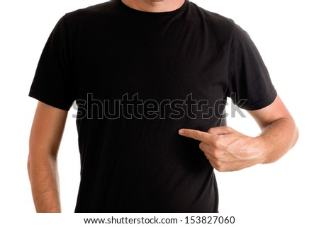 Slim tall man posing in blank black t-shirt - stock photo