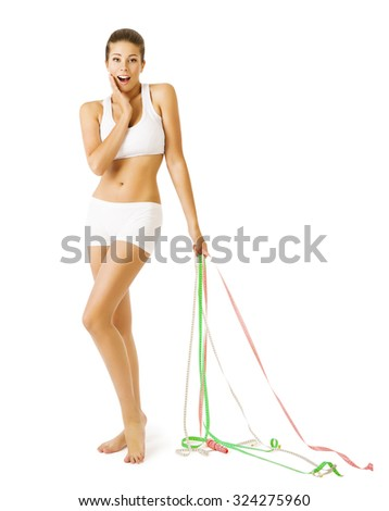 Slim Woman and Measuring Tapes, Slimming Thin Girl in White Underwear, Weight Loss - stock photo