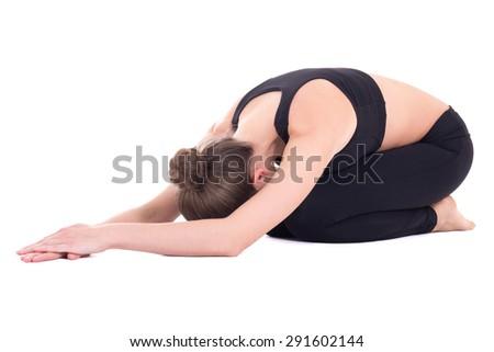 slim woman doing yoga isolated on white background - stock photo