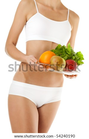 Slim woman isolated on white background