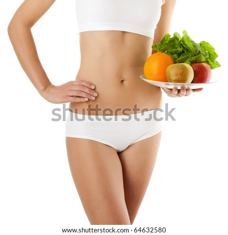 Slim woman isolated on white background - stock photo