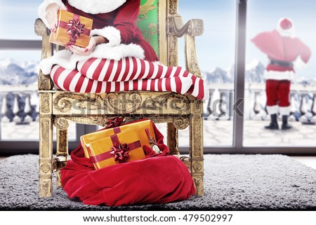 slim woman legs and interior with big window at christmas time