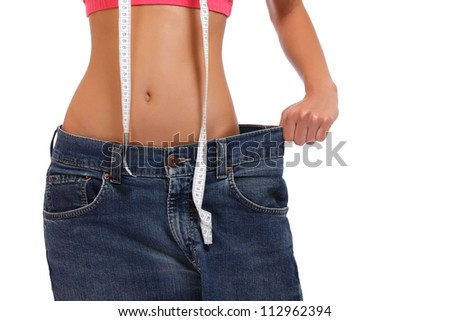 slim woman posing on white background