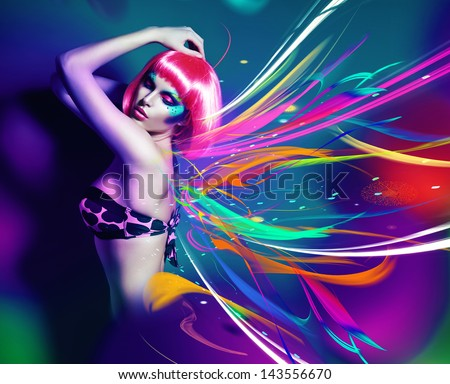 slim woman with pink wig in lines - stock photo