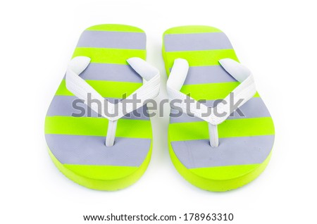 Slippers flip flops on isolated white background
