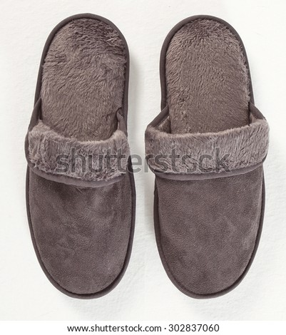 slippers on a white background - stock photo