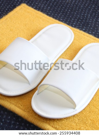 slippers on carpet background - stock photo