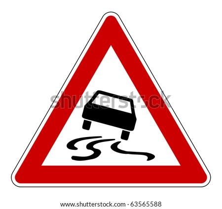 Slippery or hazardous road sign, isolated on white background. - stock photo