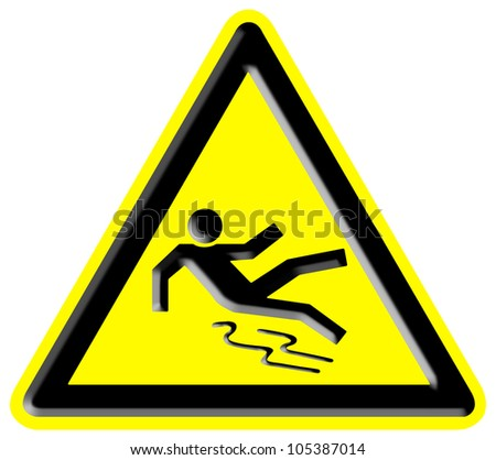 Slippery Surface Hazard Sign - stock photo
