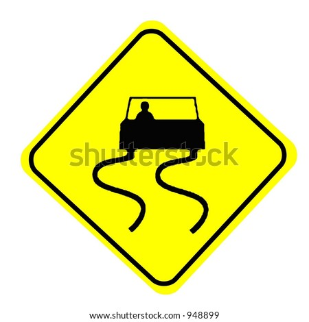 Slippery when wet Symbolic Sign isolated on a white background - stock photo