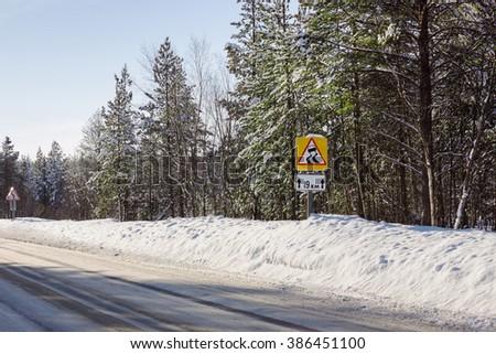 Slippery winter road segment times, the northern region - stock photo