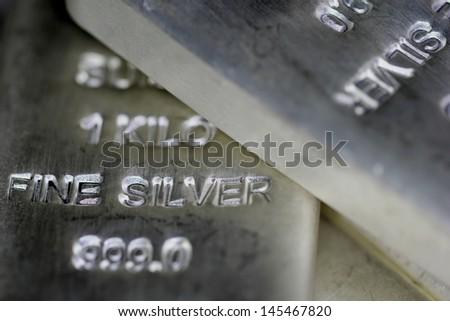 Sliver Bullion Bars - stock photo
