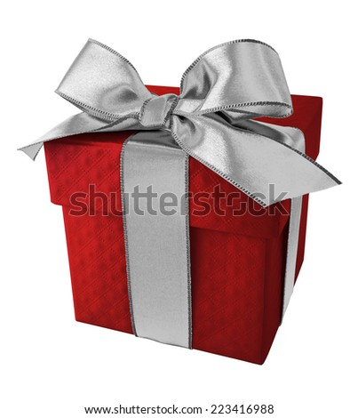 Sliver Ribbon with Red Gift Box on white background - stock photo