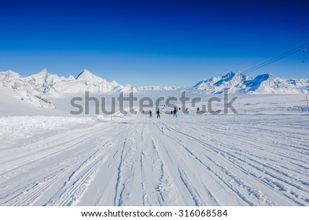 Slope on the skiing resort Chervinia. Italy. Swiss - stock photo