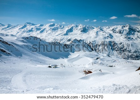Slope on the skiing resort, European Alps Solden - stock photo
