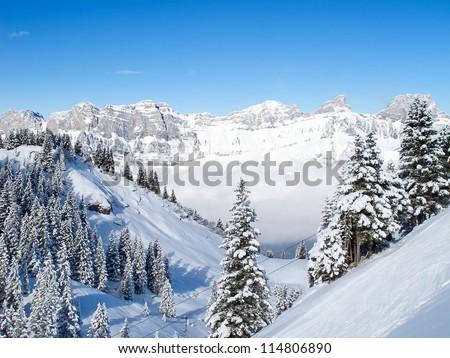 Slope on the skiing resort Flumserberg. Switzerland - stock photo