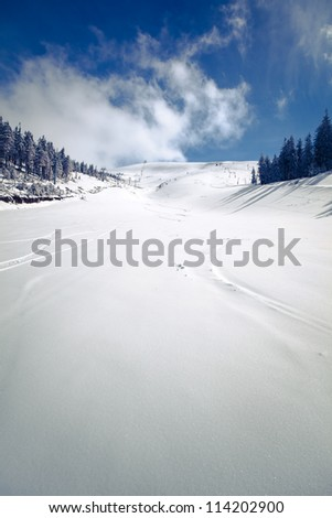 Slope on the skiing resort  in Carpathians. Ukraine - stock photo