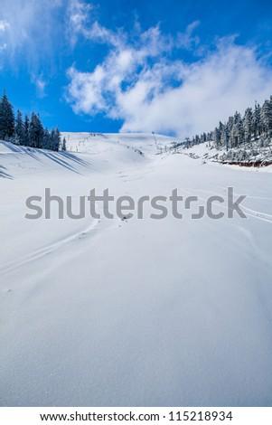 Slope on the skiing resort  in Carpathians. Ukraine - stock photo