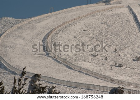 Slope on the skiing resort in the navacerrada madrid,spain