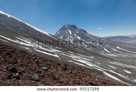 Slopes of Volcano Lascar - stock photo
