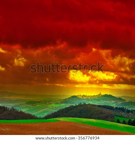 Sloping Hills of Tuscany at Sunset