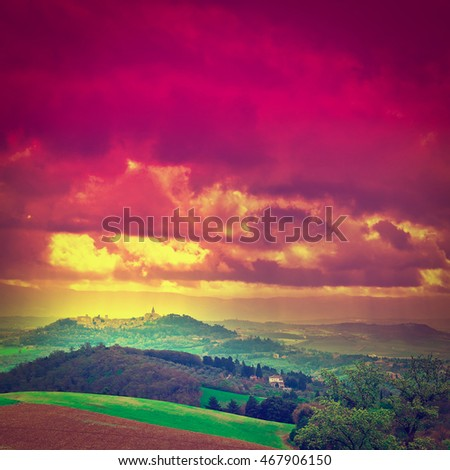Sloping Hills of Tuscany at Sunset, Retro Effect