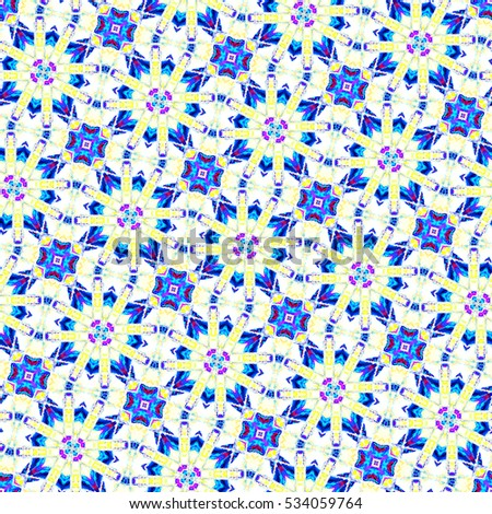 Sloping seamless colorful kaleidoscopic ornament for design and background