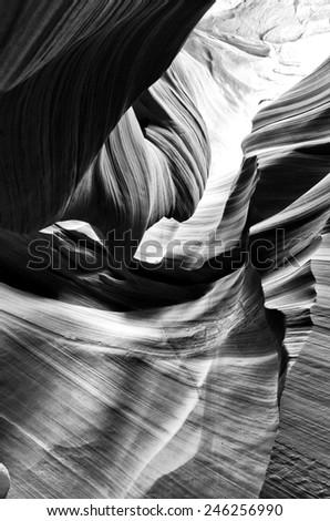 Slot Canyon In B&W - Lower Antelope Canyon, AZ - stock photo