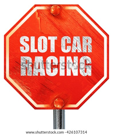 slot car racing, 3D rendering, a red stop sign - stock photo