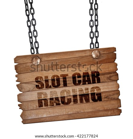 slot car racing, 3D rendering, wooden board on a grunge chain - stock photo