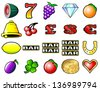 Slot machine fruits and other icon illustrations - stock photo