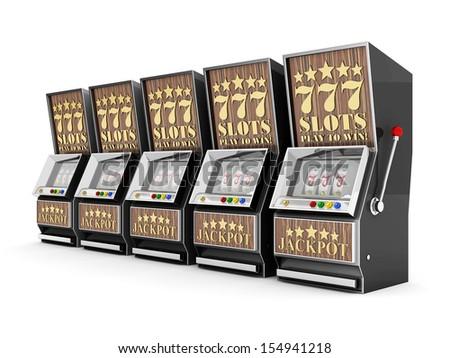 slot machine, gamble machine on a white background - stock photo
