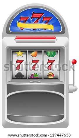 slot machine illustration isolated on white background - stock photo