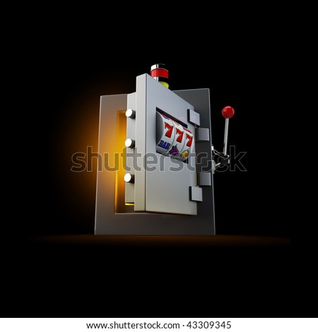 Slot machine oopening door of the safe - stock photo