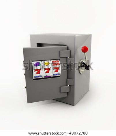 slot machine opening door of the safe - stock photo