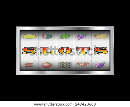 Slot machine reels slots in letters sign  - stock photo