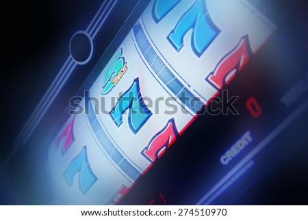 Slot Machine Spin Concept Photo. Slot Machine Closeup. Casino Theme. - stock photo