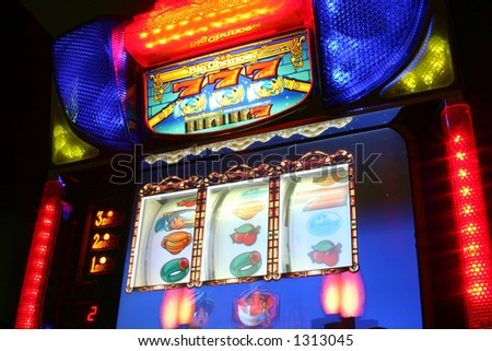 Slot machine with colorful lights and graphics