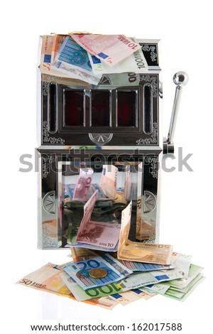 Slot machine with European currency - stock photo