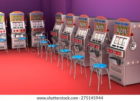 Slot machines in the casino Interior  - stock photo