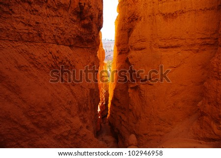 Slot through high orange walls, Bryce Canyon National Park, Utah