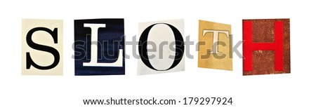 Sloth formed with magazine letters on a white background - stock photo